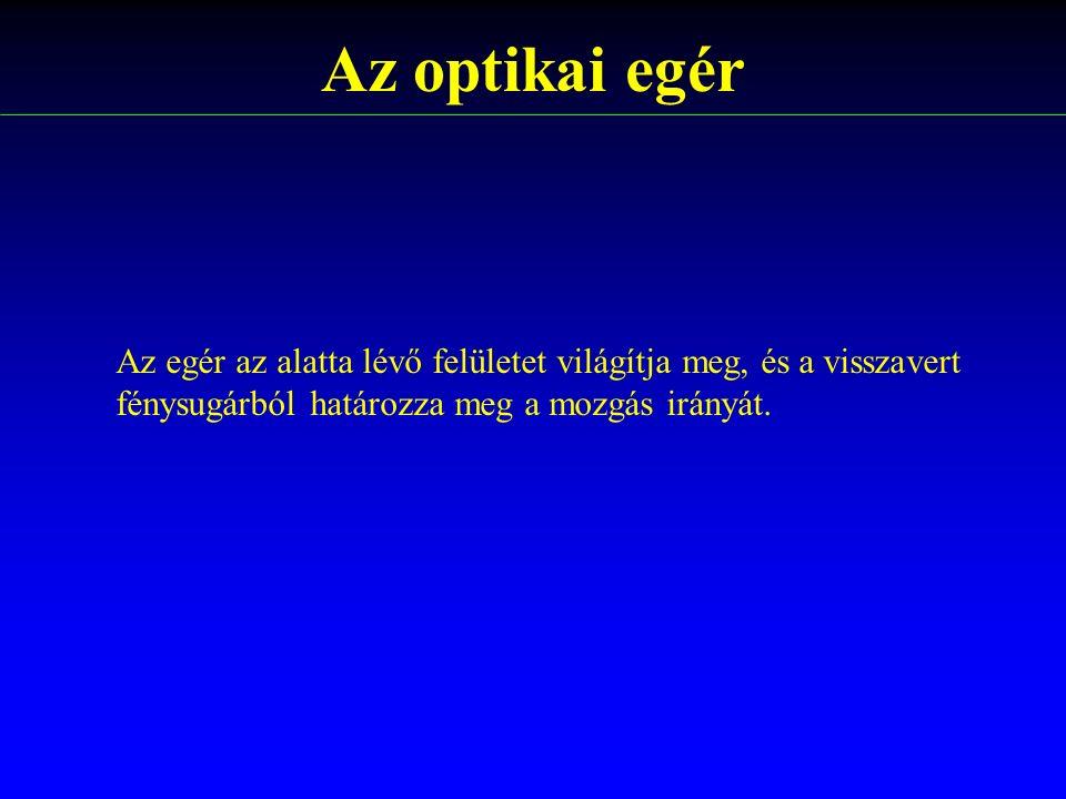 Az optikai egér Az egér az alatta lévő felületet világítja meg, és a visszavert.