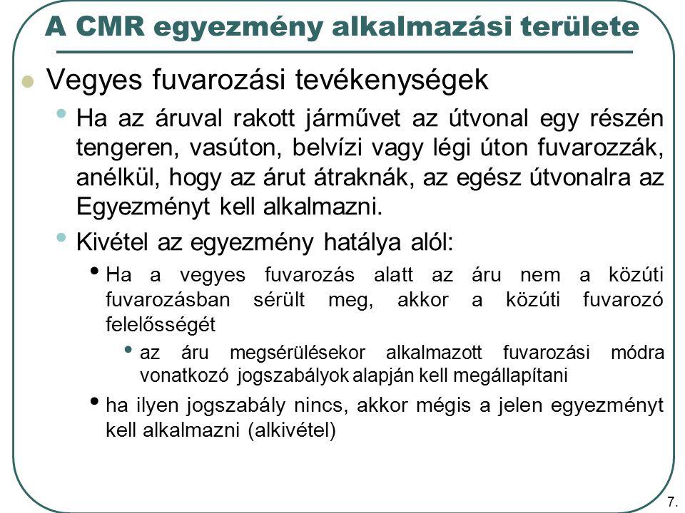 A CMR egyezmény alkalmazási területe