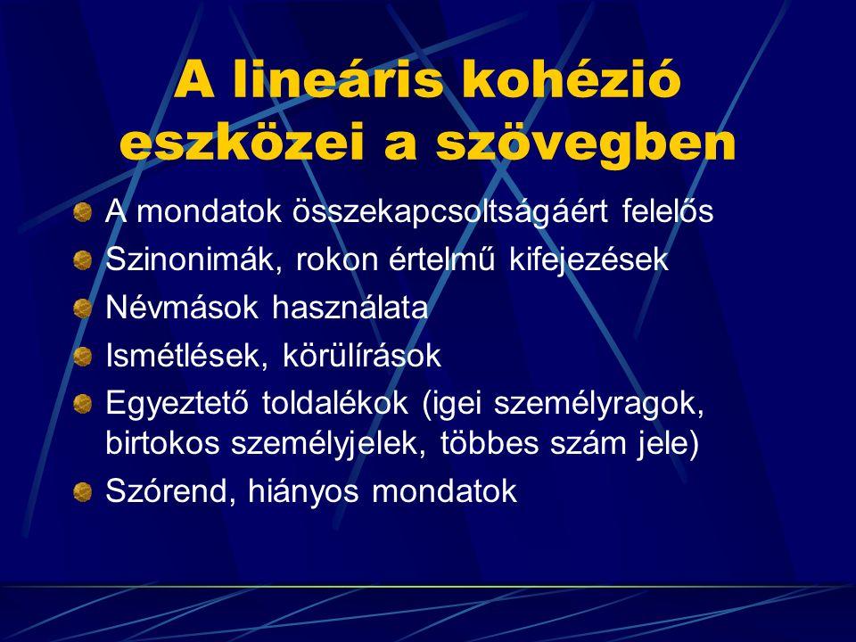 A lineáris kohézió eszközei a szövegben