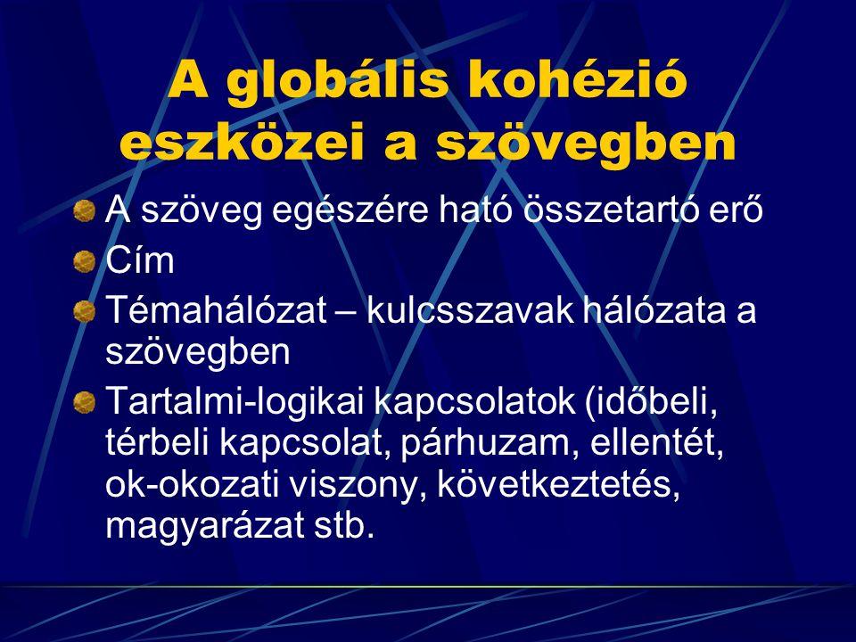 A globális kohézió eszközei a szövegben