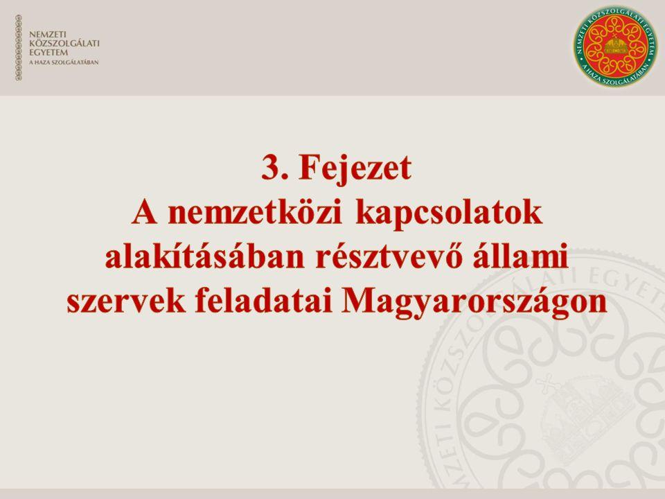 3. Fejezet A nemzetközi kapcsolatok alakításában résztvevő állami szervek feladatai Magyarországon