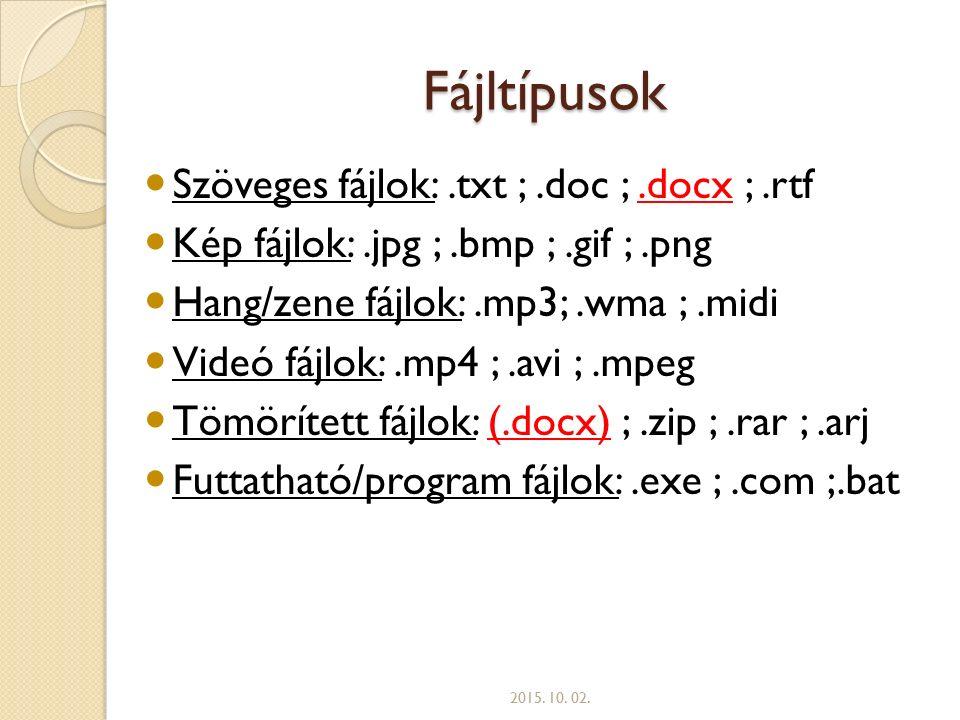 Fájltípusok Szöveges fájlok: .txt ; .doc ; .docx ; .rtf