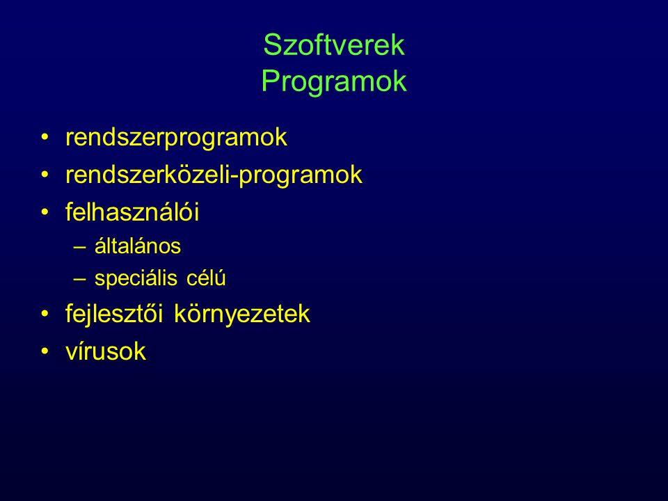 Szoftverek Programok rendszerprogramok rendszerközeli-programok