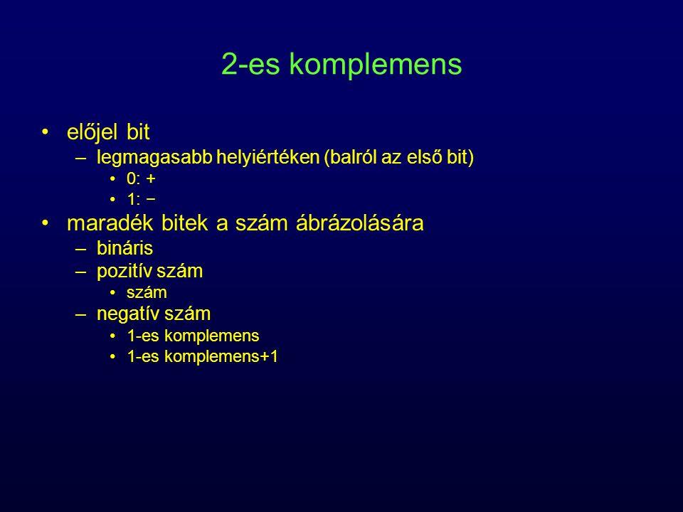 2-es komplemens előjel bit maradék bitek a szám ábrázolására