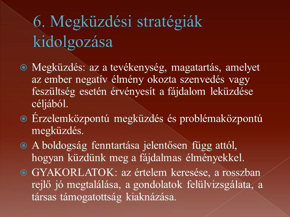 6. Megküzdési stratégiák kidolgozása