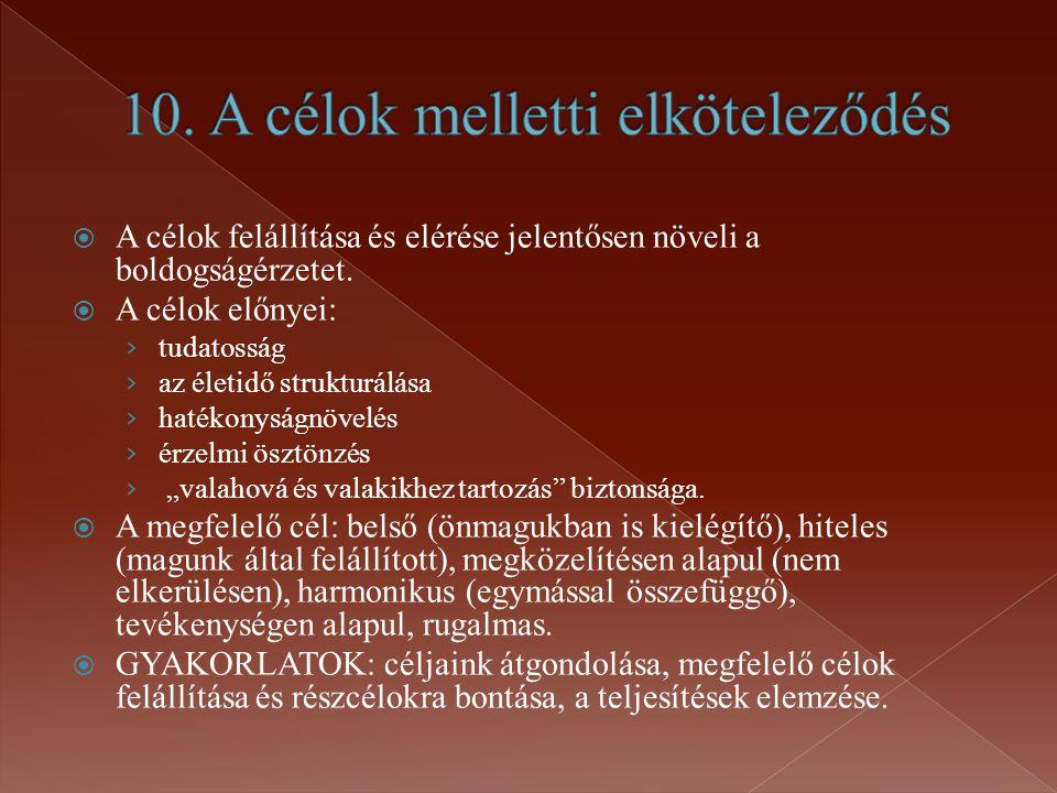 10. A célok melletti elköteleződés