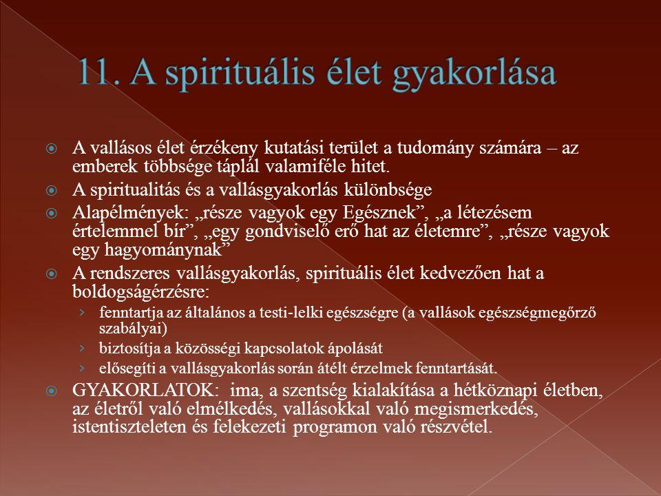 11. A spirituális élet gyakorlása