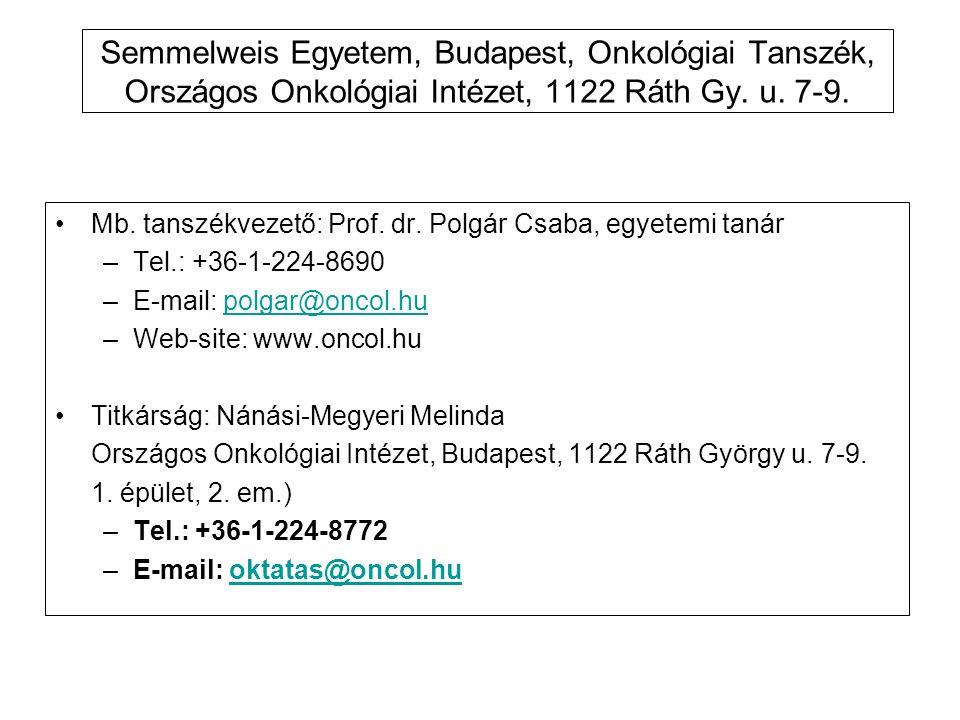 Semmelweis Egyetem, Budapest, Onkológiai Tanszék, Országos Onkológiai Intézet, 1122 Ráth Gy. u. 7-9.
