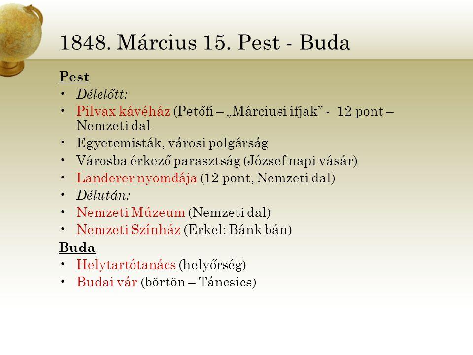 """1848. Március 15. Pest - Buda Pest. Délelőtt: Pilvax kávéház (Petőfi – """"Márciusi ifjak - 12 pont – Nemzeti dal."""