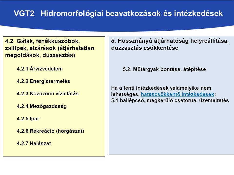 VGT2 Hidromorfológiai beavatkozások és intézkedések
