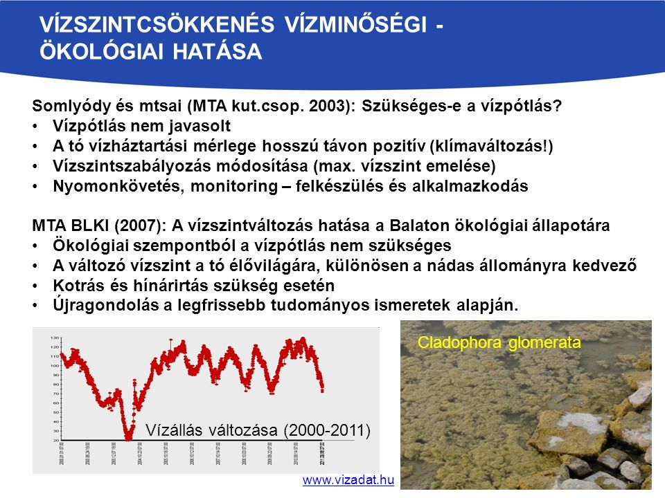 Vízszintcsökkenés vízminőségi - ökológiai hatása