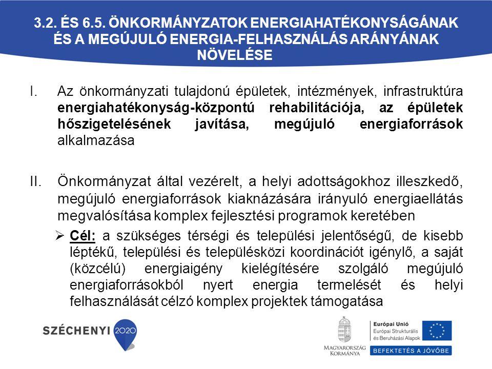 3.2. és 6.5. Önkormányzatok energiahatékonyságának és a megújuló energia-felhasználás arányának növelése