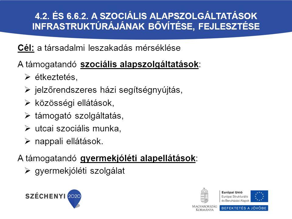 4.2. és 6.6.2. A szociális alapszolgáltatások infrastruktúrájának bővítése, fejlesztése
