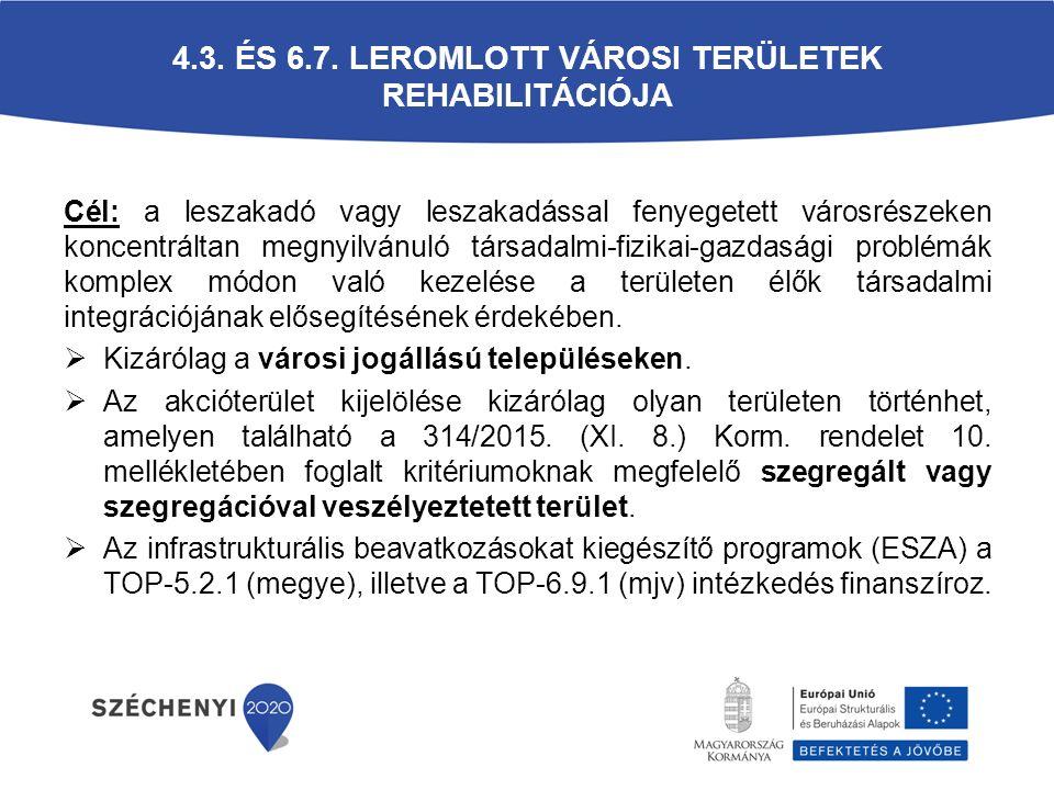 4.3. és 6.7. Leromlott városi területek rehabilitációja