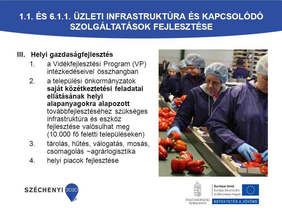 1.1. és 6.1.1. Üzleti infrastruktúra és kapcsolódó szolgáltatások fejlesztése