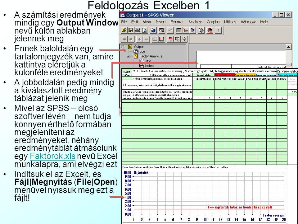 Feldolgozás Excelben 1 A számítási eredmények mindig egy Output Window nevű külön ablakban jelennek meg.
