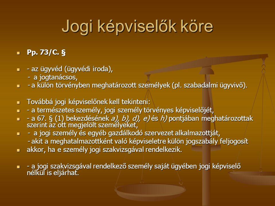 Jogi képviselők köre Pp. 73/C. § - az ügyvéd (ügyvédi iroda),