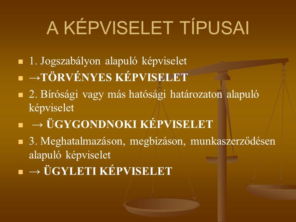A KÉPVISELET TÍPUSAI 1. Jogszabályon alapuló képviselet