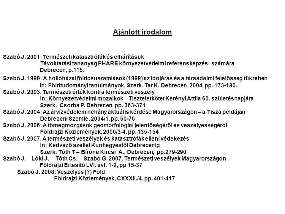 Ajánlott irodalom Szabó J. 2001: Természeti katasztrófák és elhárításuk. Távoktatási tananyag PHARE környezetvédelmi referensképzés számára.