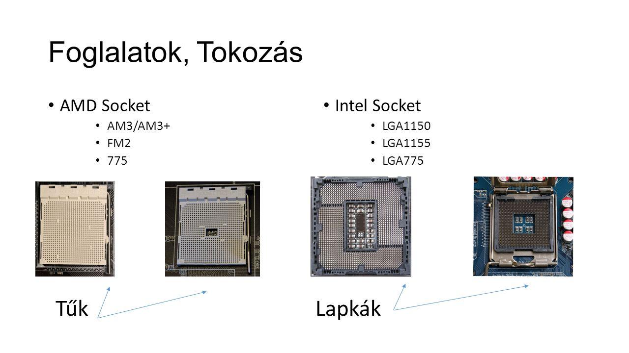Foglalatok, Tokozás Tűk Lapkák AMD Socket Intel Socket AM3/AM3+ FM2
