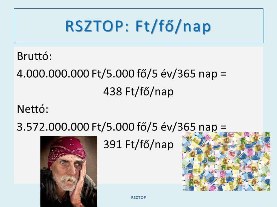 RSZTOP: Ft/fő/nap Bruttó: 4.000.000.000 Ft/5.000 fő/5 év/365 nap = 438 Ft/fő/nap Nettó: 3.572.000.000 Ft/5.000 fő/5 év/365 nap = 391 Ft/fő/nap