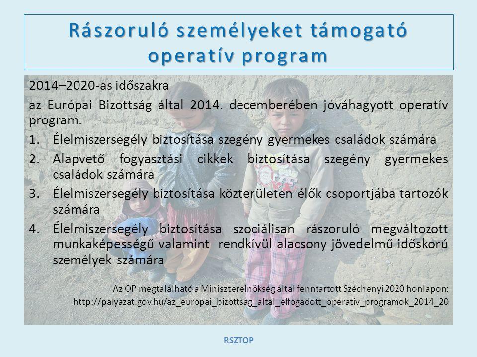 Rászoruló személyeket támogató operatív program