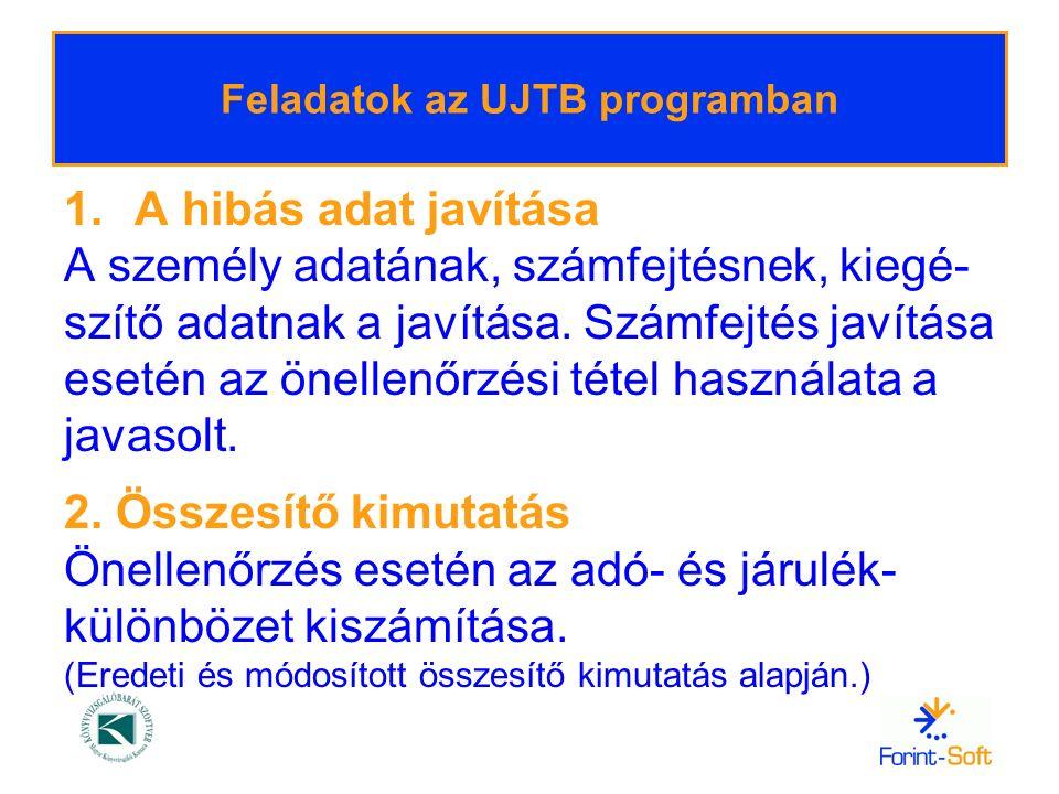 Feladatok az UJTB programban
