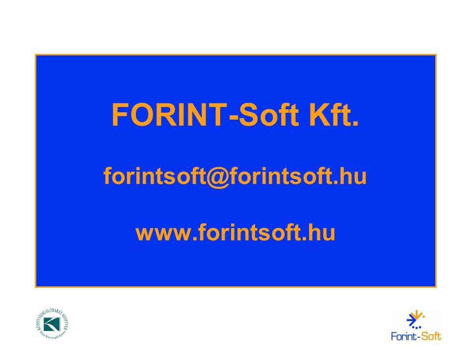 FORINT-Soft Kft. forintsoft@forintsoft.hu www.forintsoft.hu