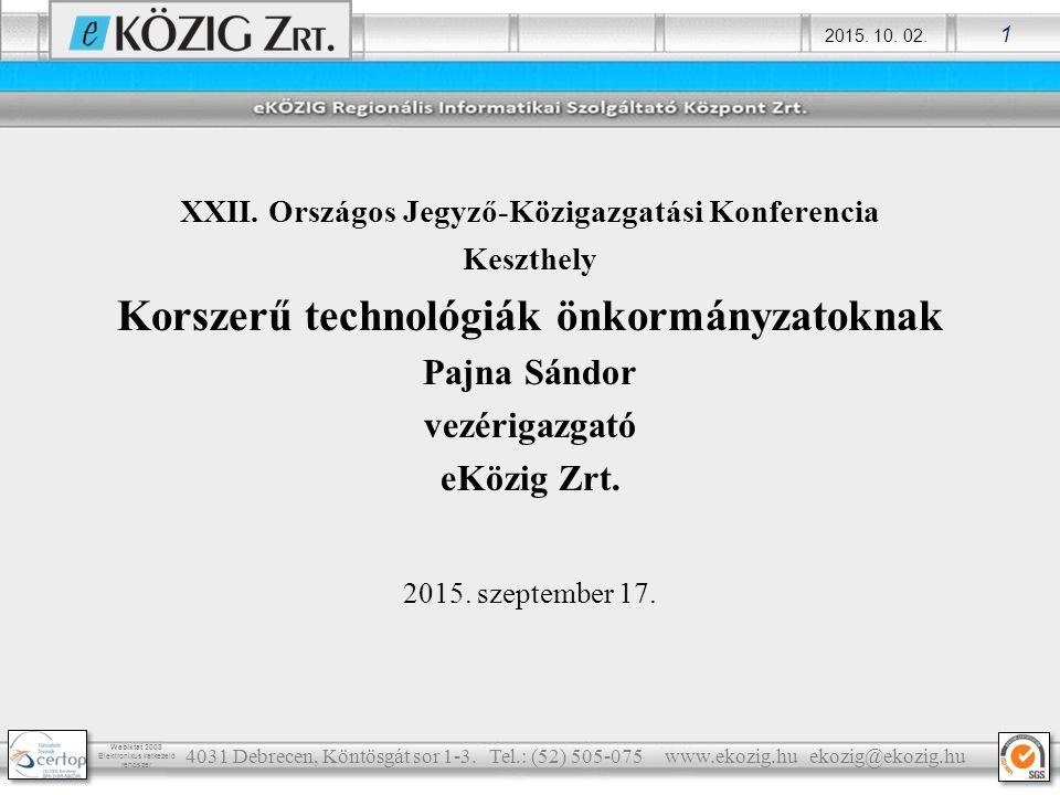 Korszerű technológiák önkormányzatoknak