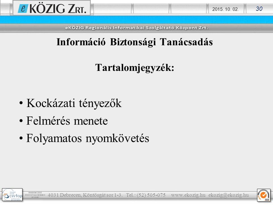 Információ Biztonsági Tanácsadás Tartalomjegyzék:
