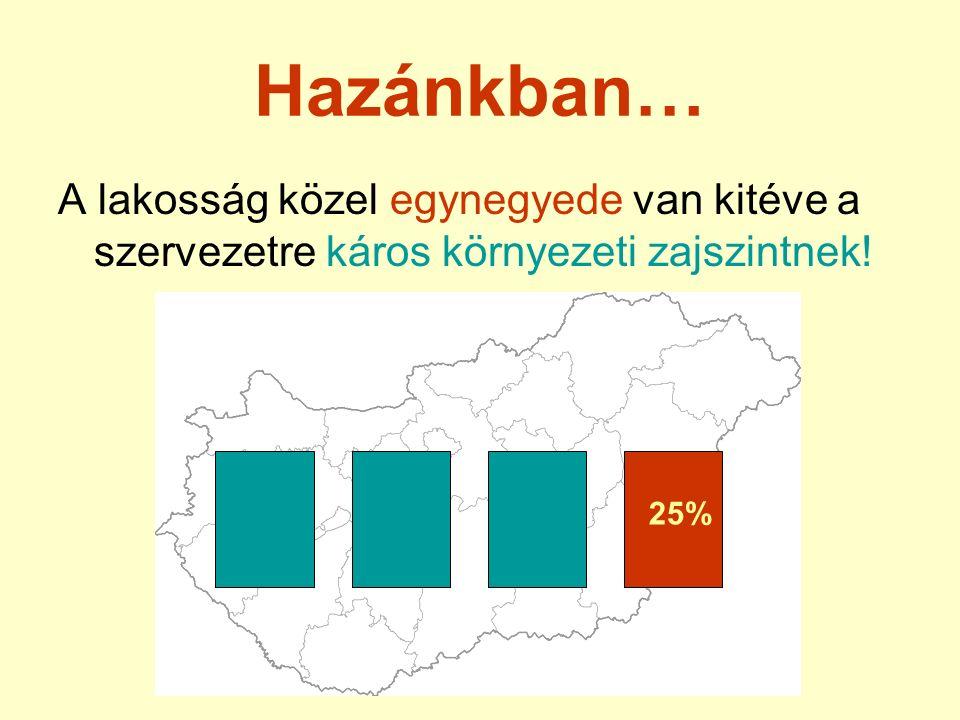 Hazánkban… A lakosság közel egynegyede van kitéve a szervezetre káros környezeti zajszintnek! 25%