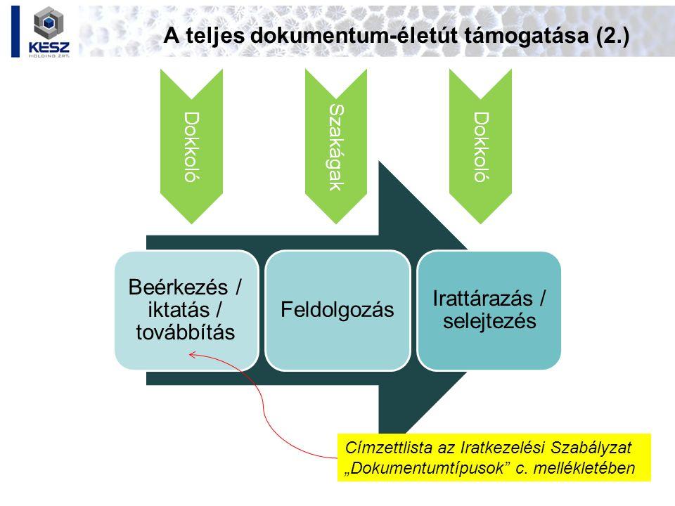 A teljes dokumentum-életút támogatása (2.)
