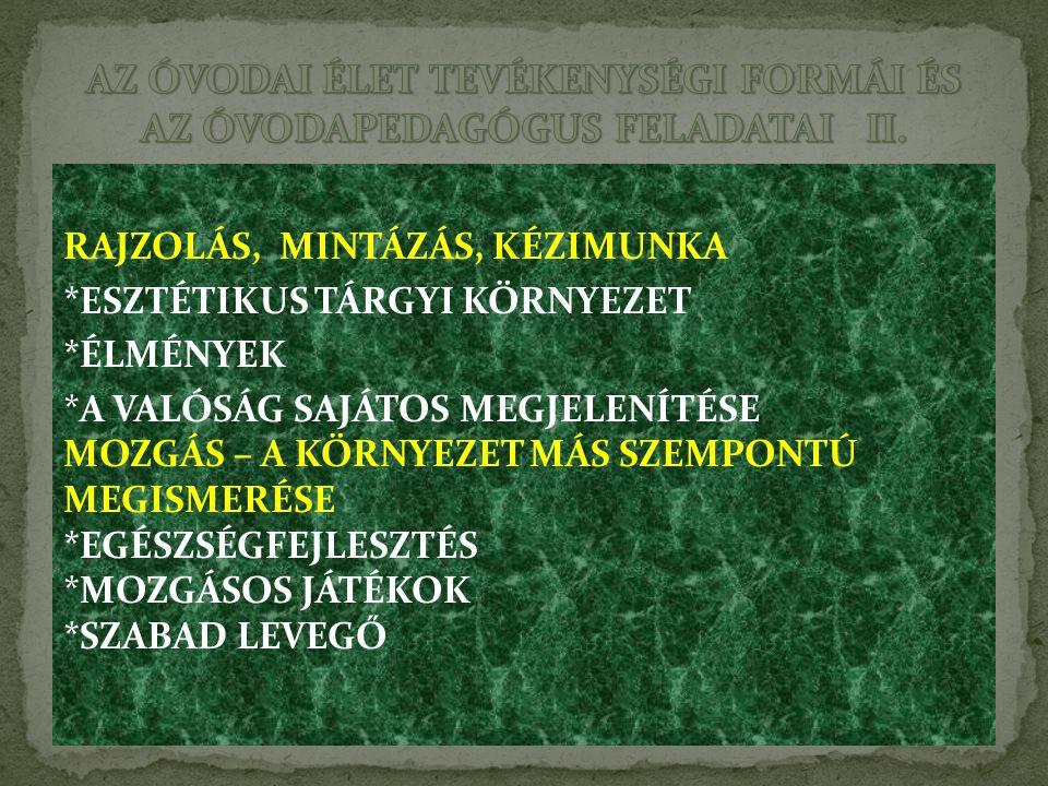 AZ ÓVODAI ÉLET TEVÉKENYSÉGI FORMÁI ÉS AZ ÓVODAPEDAGÓGUS FELADATAI II.