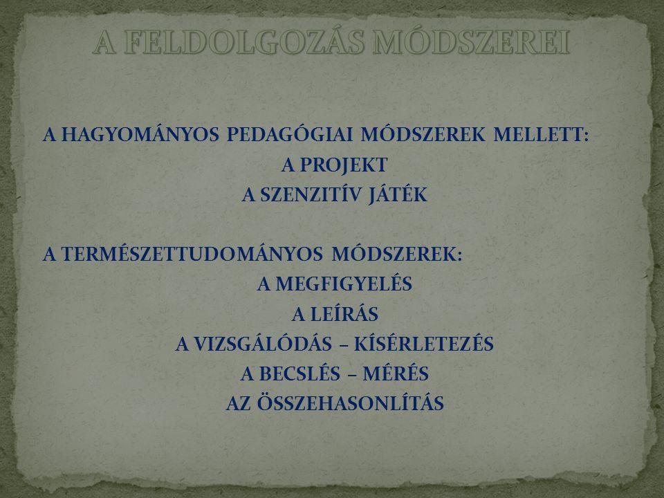 A FELDOLGOZÁS MÓDSZEREI