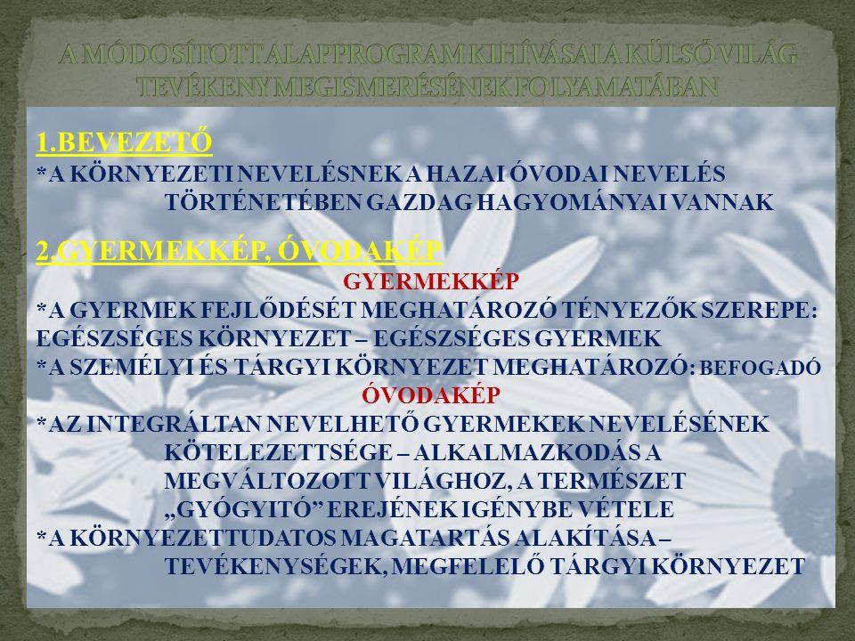 1.BEVEZETŐ 2.GYERMEKKÉP, ÓVODAKÉP