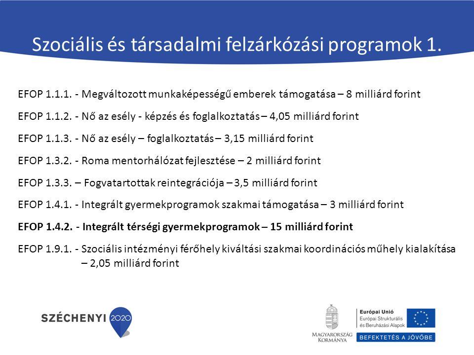 Szociális és társadalmi felzárkózási programok 1.