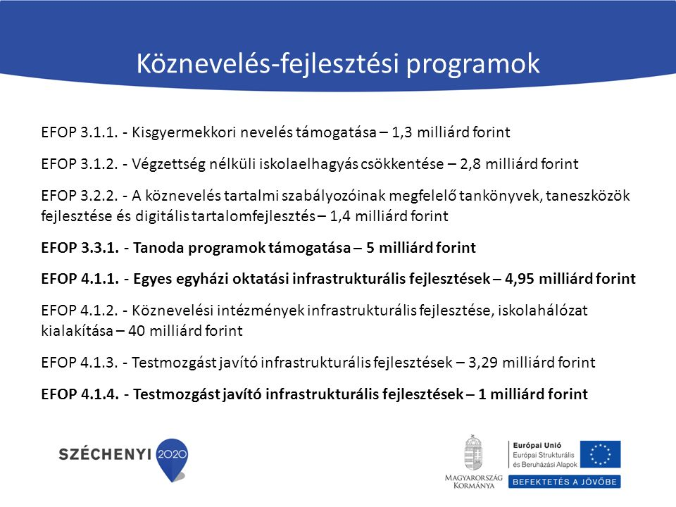 Köznevelés-fejlesztési programok