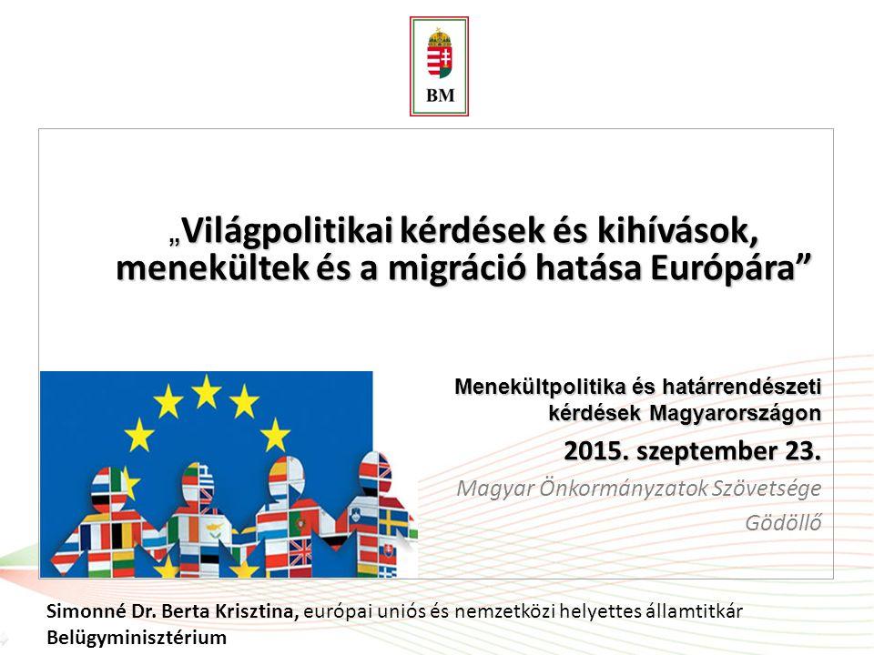 """""""Világpolitikai kérdések és kihívások, menekültek és a migráció hatása Európára"""