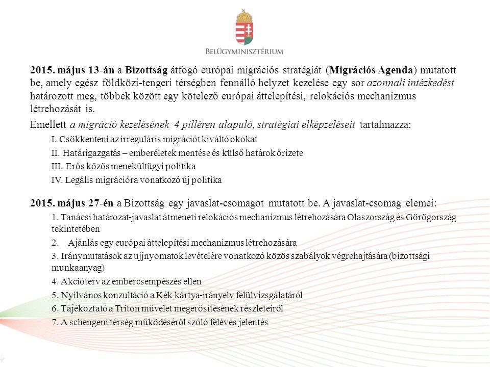 2015. május 13-án a Bizottság átfogó európai migrációs stratégiát (Migrációs Agenda) mutatott be, amely egész földközi-tengeri térségben fennálló helyzet kezelése egy sor azonnali intézkedést határozott meg, többek között egy kötelező európai áttelepítési, relokációs mechanizmus létrehozását is.