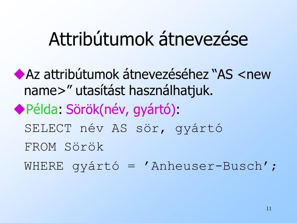 Attribútumok átnevezése