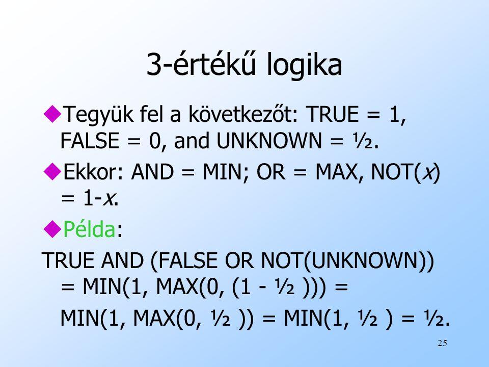 3-értékű logika Tegyük fel a következőt: TRUE = 1, FALSE = 0, and UNKNOWN = ½. Ekkor: AND = MIN; OR = MAX, NOT(x) = 1-x.