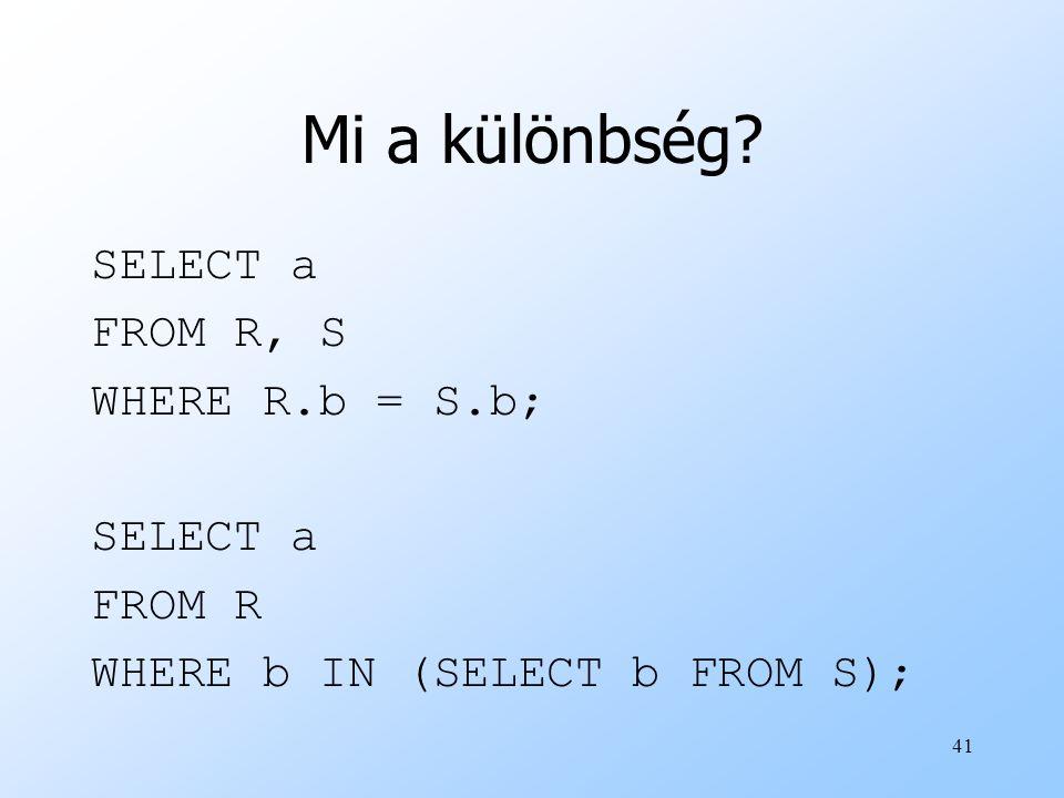 Mi a különbség SELECT a FROM R, S WHERE R.b = S.b; FROM R