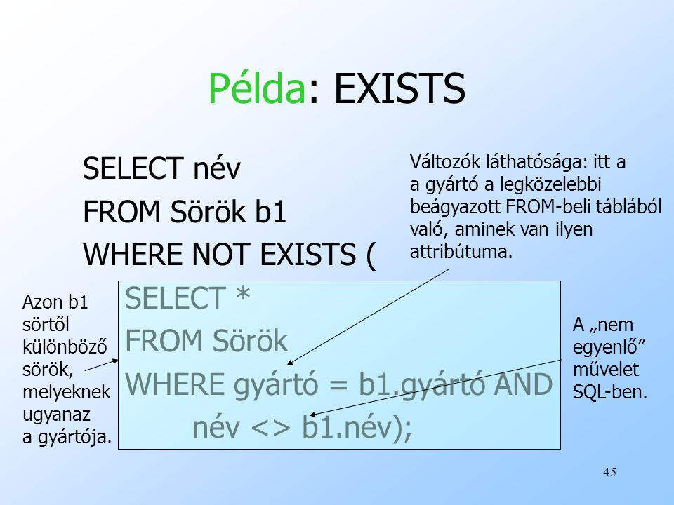 Példa: EXISTS SELECT név FROM Sörök b1 WHERE NOT EXISTS ( SELECT *