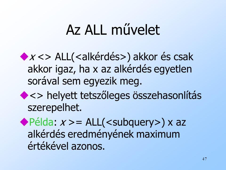 Az ALL művelet x <> ALL(<alkérdés>) akkor és csak akkor igaz, ha x az alkérdés egyetlen sorával sem egyezik meg.