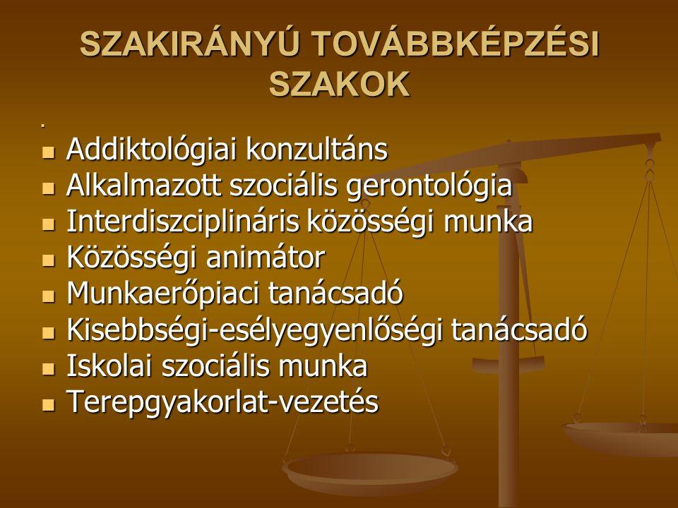 SZAKIRÁNYÚ TOVÁBBKÉPZÉSI SZAKOK
