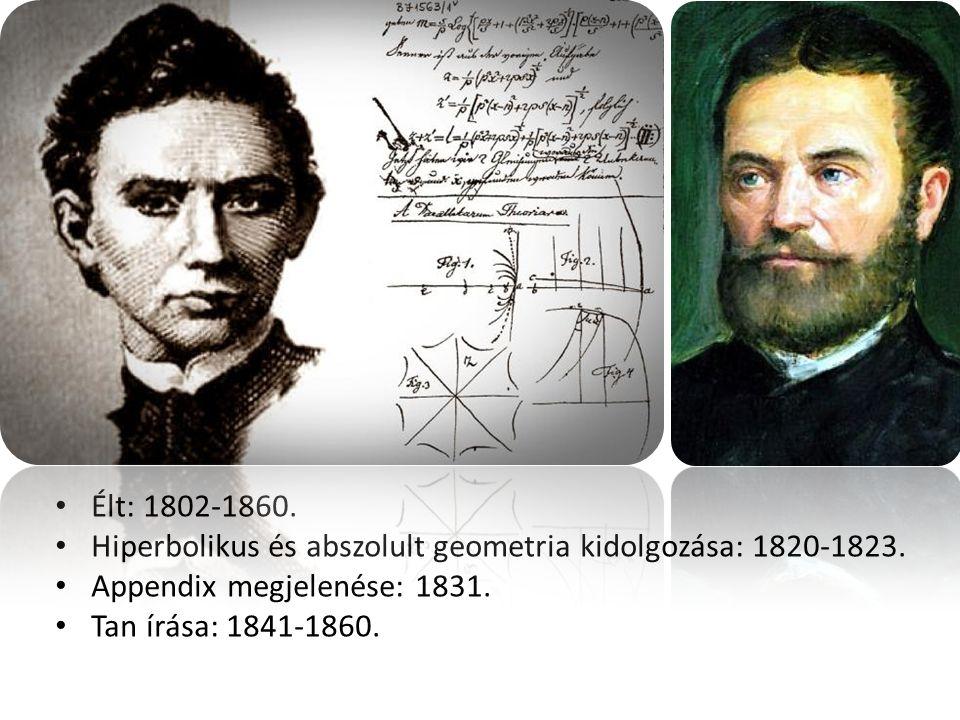 Élt: 1802-1860. Hiperbolikus és abszolult geometria kidolgozása: 1820-1823. Appendix megjelenése: 1831.