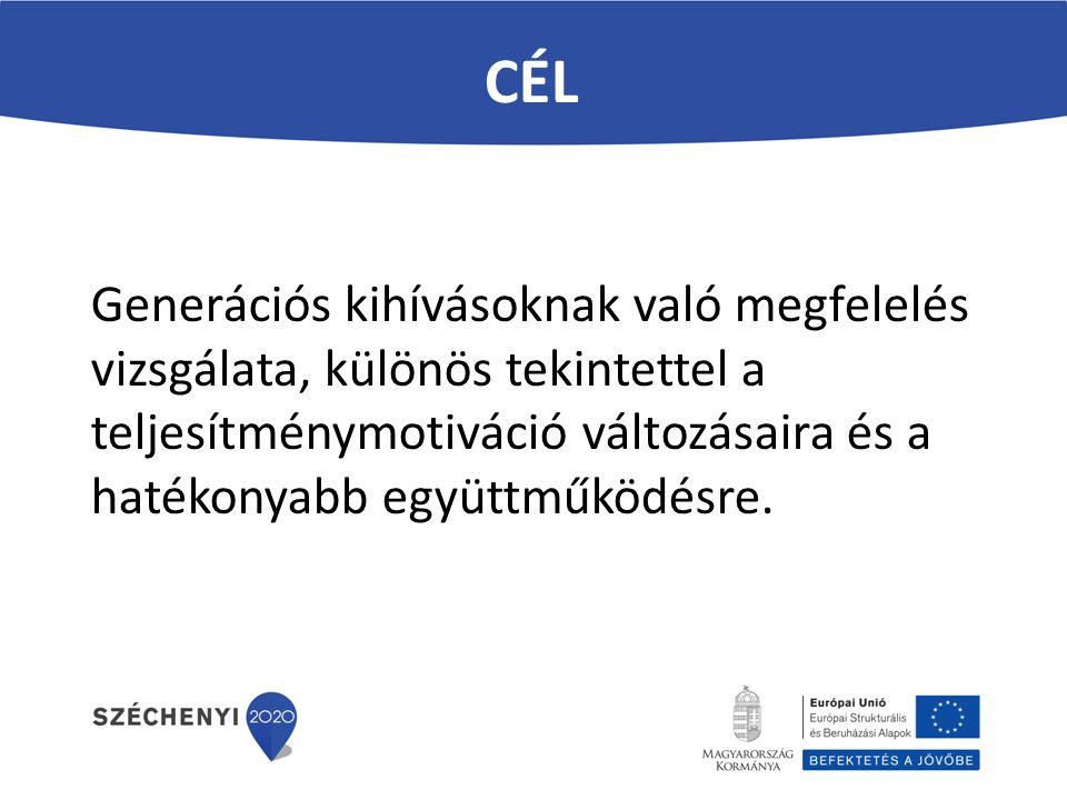 CÉL Generációs kihívásoknak való megfelelés vizsgálata, különös tekintettel a teljesítménymotiváció változásaira és a hatékonyabb együttműködésre.