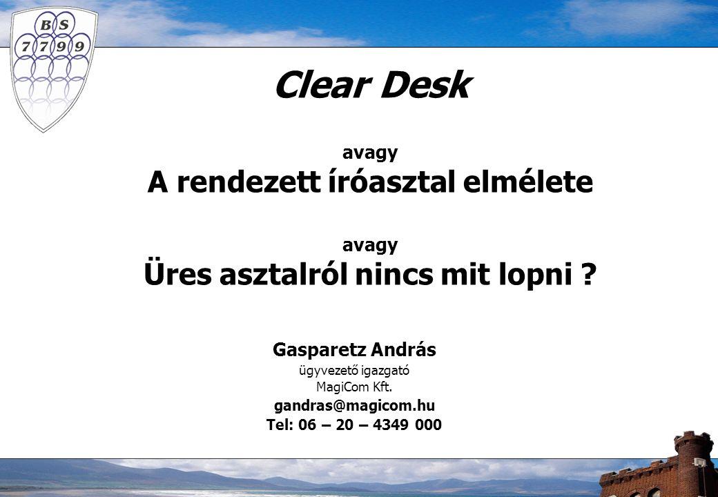 Clear Desk avagy A rendezett íróasztal elmélete avagy Üres asztalról nincs mit lopni