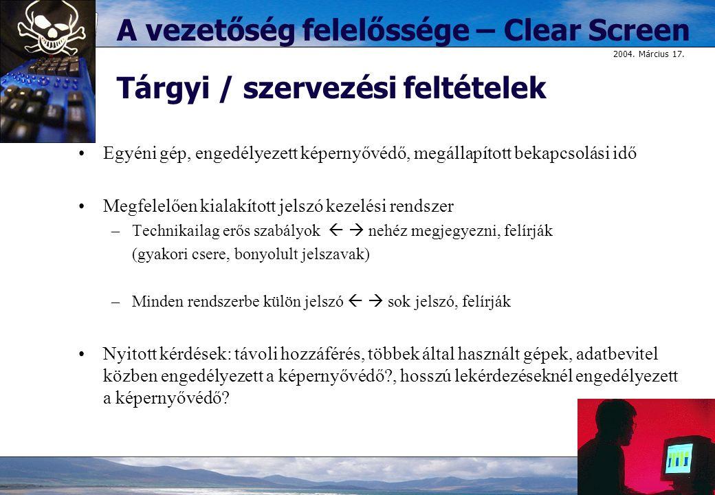 A vezetőség felelőssége – Clear Screen Tárgyi / szervezési feltételek