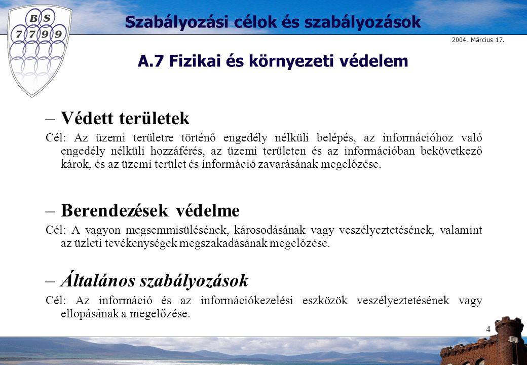 Szabályozási célok és szabályozások A.7 Fizikai és környezeti védelem